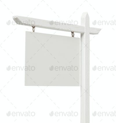 Blank Real Estate Sign on White with Clipping Path