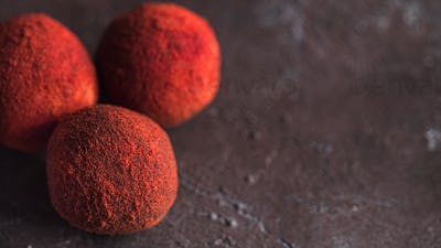 Red truffle in beet powder, copy space right