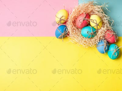 Easter concept, copy space, top view, minimal