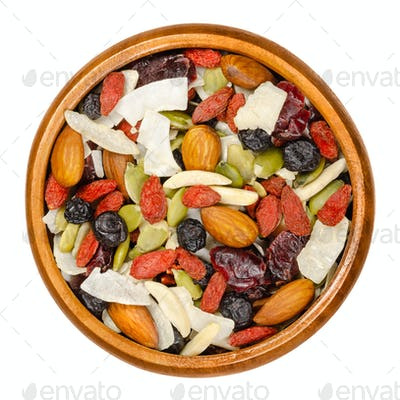 Superfood snacking mix in wooden bowl