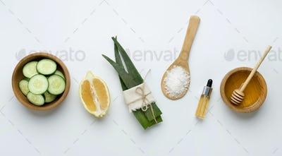 Natural Ingredients for Homemade Oat Body Face Scrub Salt