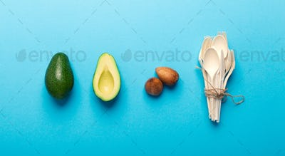 Eco plastic disposable tableware of natural avocado seeds