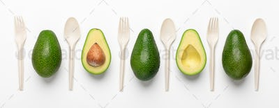 Collage of avocado and disposable tableware on white background