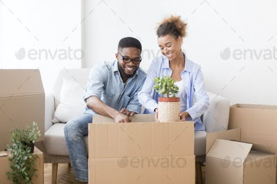 Couple Packing Plant In Box Preparing For Relocation At Home