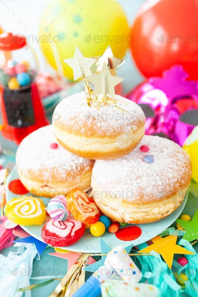 Delicious donuts and candy