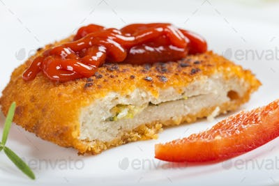 Close up of chicken cordon Bleu on plate