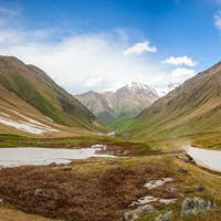 Summer nature landscape with glacier and mountain