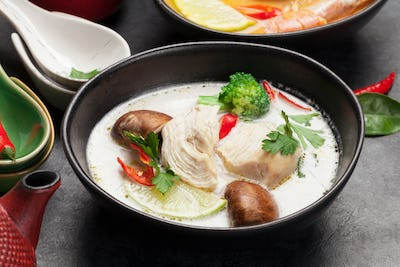 Tom Yum and Tom Kha traditional Thai soups