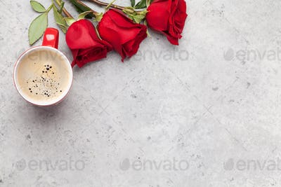 Valentines day card with rose flowers and coffee