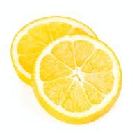Lemon slices isolated on white background.
