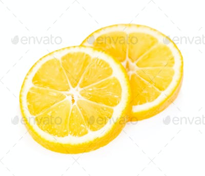Lemon slices isolated on white background.