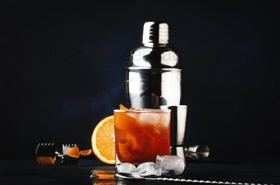 Garibaldi alcoholic cocktail with red bitter, orange