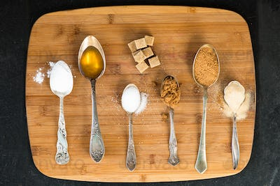 Different Kinds of Sugar in the Spoons