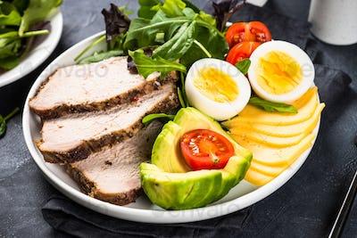Keto diet plate on black stone table