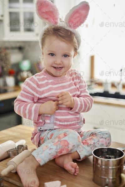 Portrait of baby girl with bunny ears