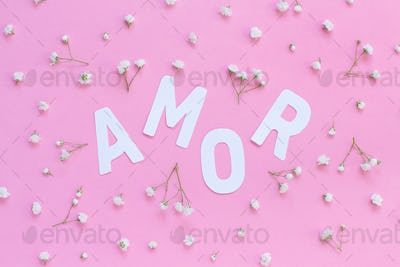 Flowers and word AMOR on a light pink background