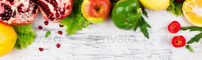 Banner with Fruits and vegetables frame. Copy space. Vegan. Clear food.