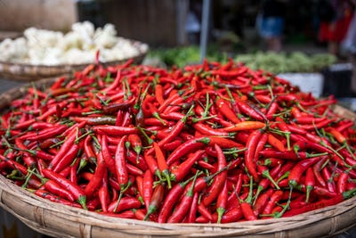 Red Chillies on sale a wicker bowl