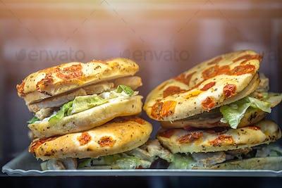 Chicken focaccia sandwiches in a cafe