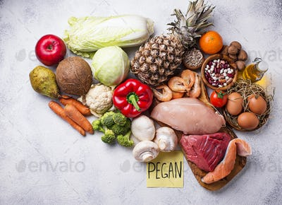 Pegan diet. Paleo and vegan products