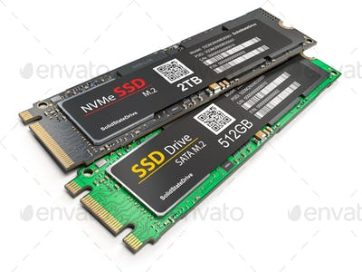 Different SSD M2 disk drive isolated on white background.