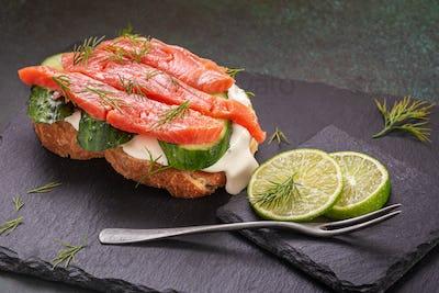 Salted salmon sandwich