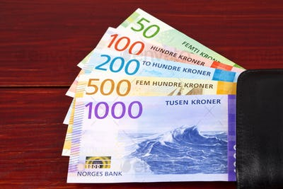 Norwegian money - Krone in the black wallet
