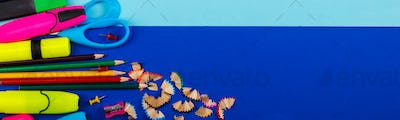 Banner of School or office stationery on colorful background.
