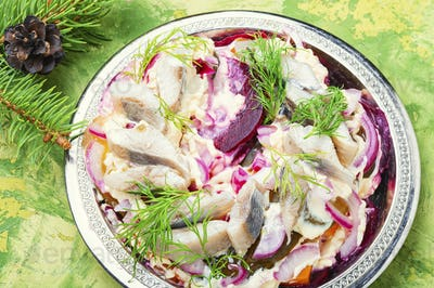 Christmas salad with herring