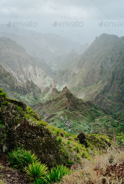 Breathtaking panorama of deep lush ribeira surrounded by towering peaks. Verdant Xo-Xo valley on