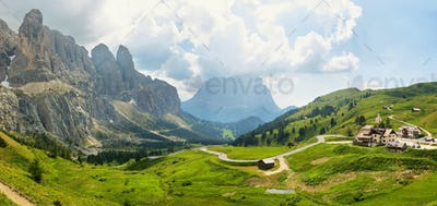 View of mountains and valley from Gardena pass, Dolomites Alps , Italy, Europe
