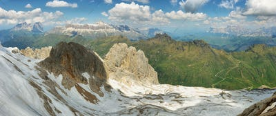 View of mountains from Marmolada summit in Dolomites, Italy