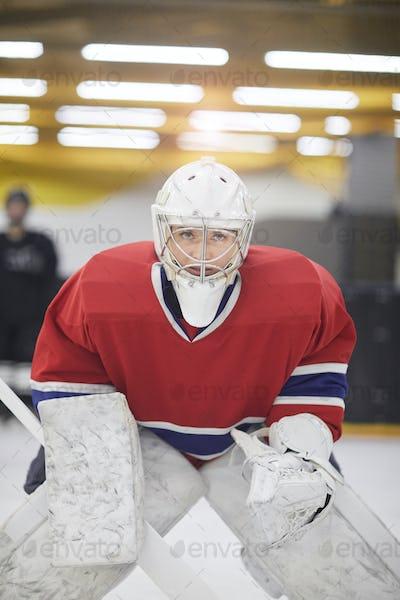 Determined Hockey Player