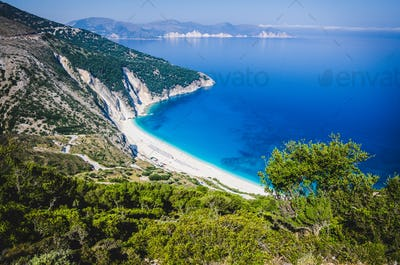 Aerial View of beautiful Myrtos Bay and Beach on Kefalonia Island, Greece