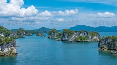 Rocks Landscape in Kabui Bay near Waigeo. West Papuan, Raja Ampat, Indonesia