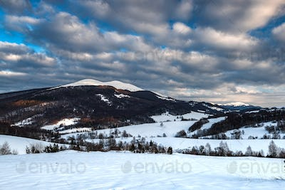 Cloudscape at Wetlina in Bieszczady Mountains, Poland at Winter Season