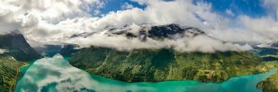 Panorama lovatnet lake Beautiful Nature Norway.