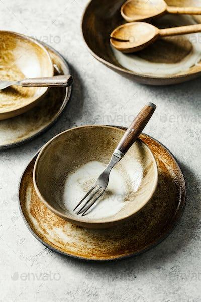 Salad bowls, plates and forks