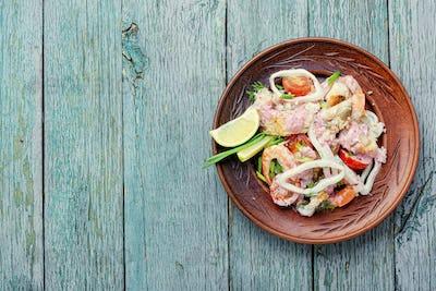 Delicious spicy seafood salad