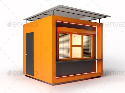 Modern design store booth 3d rendering