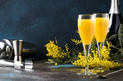 cocktail mimosa with orange juice and cold dry champagne