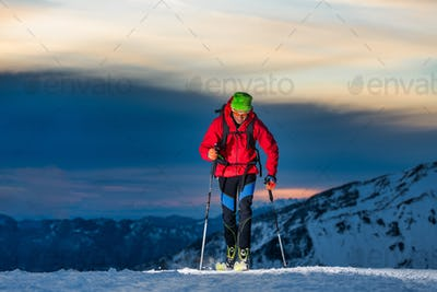 Ski touring at night