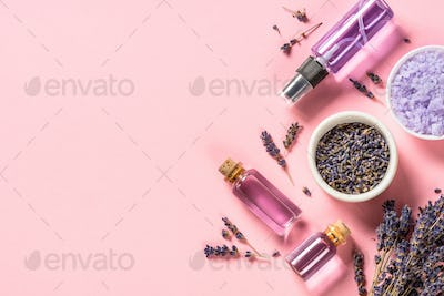 Natural lavender cosmetic on pink