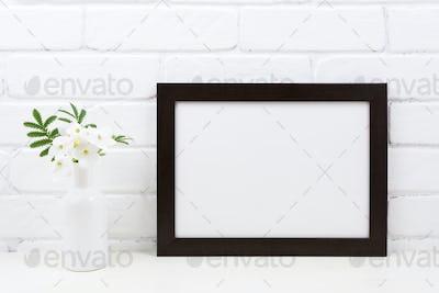 Black brown  landscape frame mockup with Tobacco flowers