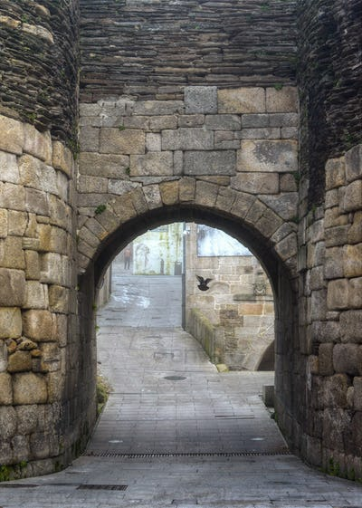 Arch Entrance Door in the Roman Wall of Lugo