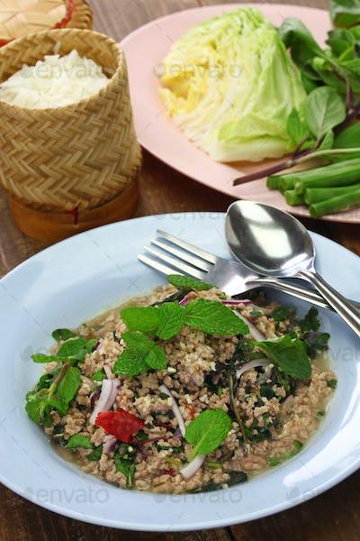 larb moo, pork type of Lao minced meat salad