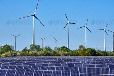 Solar panels and wind energy plants