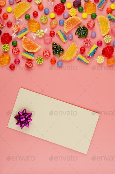 Flat lay view at sweet background