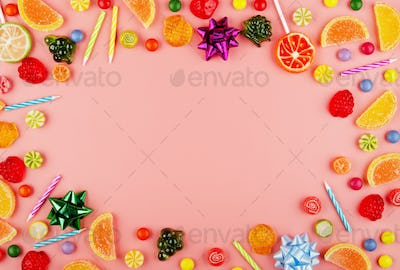 Flat lay view at sweetframe of different type color and taste candies