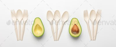 Avocado with seed for biodegradable tableware on white